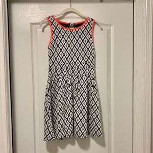 Geometric pattern fit and flare dress